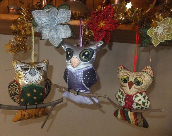 ITH Patchwork Christmas Owls