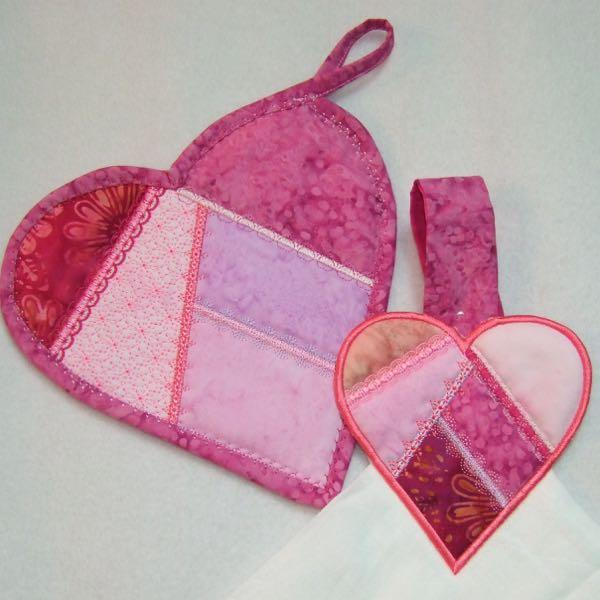 Crazy Quilt Heart Potholder and Towel Topper