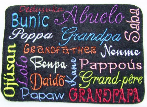Grandpa in Different Languages 3 sizes