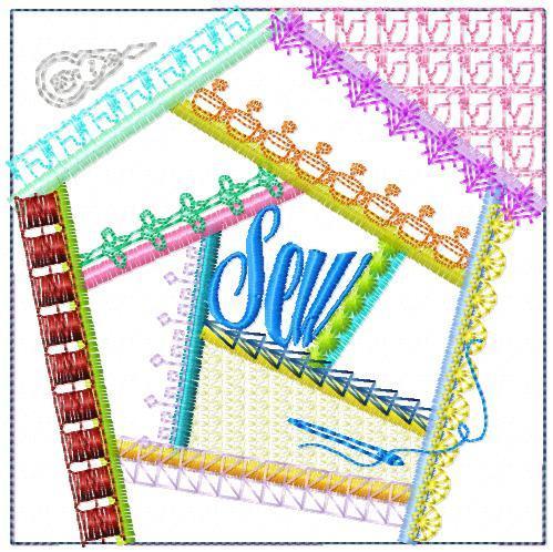Sew Crazy Quilt Block One 6 sizes