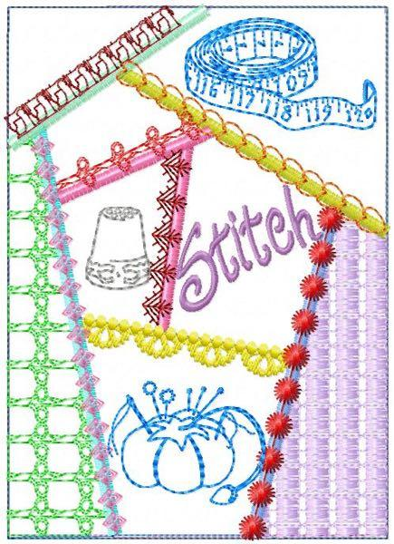 Sew Crazy Quilt Block Two 6 sizes