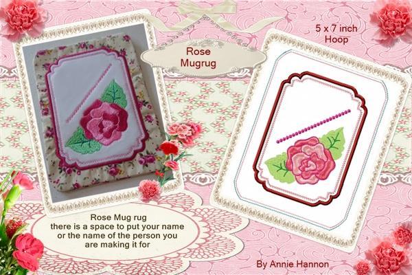 In the Hoop Rose Mug Rug