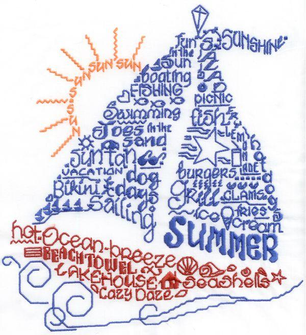 Lets Sail In The Summer Satin Stitch