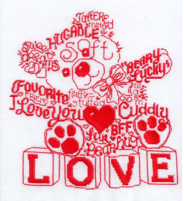 Lets Love Teddy Satin Stitch