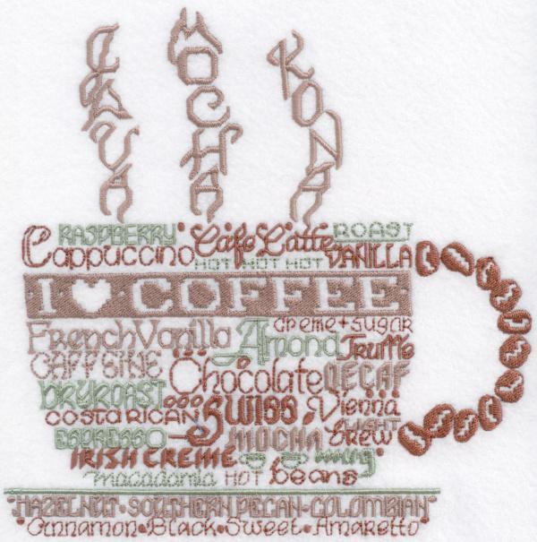 Lets Do Coffee Satin Stitch