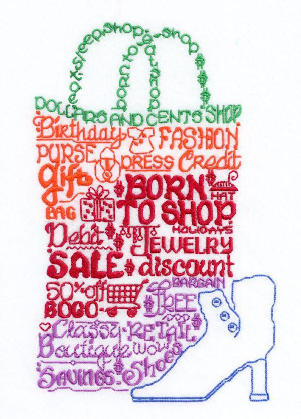Lets Shop Til We drop Satin Stitch