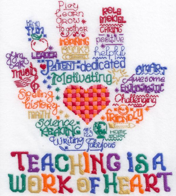 Lets Hug A Teacher Satin Stitch
