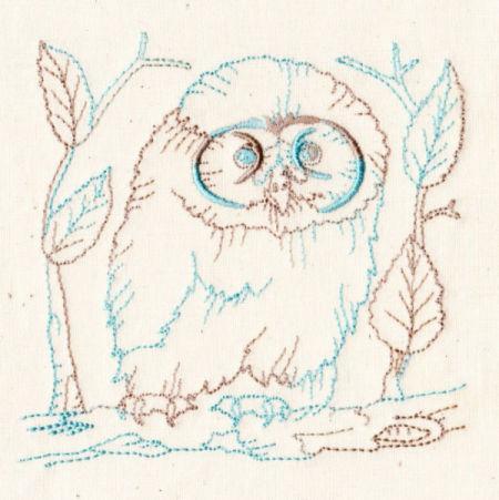 Baby Owls Redwork